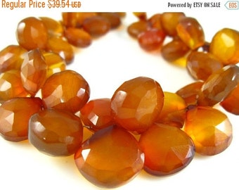 "MEGA SALE Honey Chalcedony Faceted Heart Briolette- 7"" Strand -Stones measure-9-13mm"