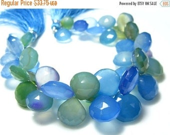 """BIG SALE Blue Shaded Chalcedony Faceted Heart Briolettes- 7"""" Strand -Stones measure- 8-12mm"""