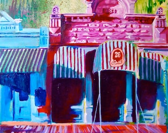 Miss Hatties San Angelo Texas Giclee Canvas Landmark Print Wall Art Colorful Abstract Pop Art