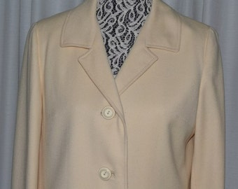Coat  Ivory Wool Quality by Crestknit Coatmakers Exclusively 1960s