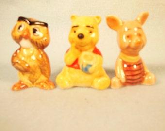 "Vintage-Walt Disney Productions-Winnie The Pooh-Piglet-Owl-Ceramic Figurines-2"" Tall-Sold At Sears Roebuck In 1960"