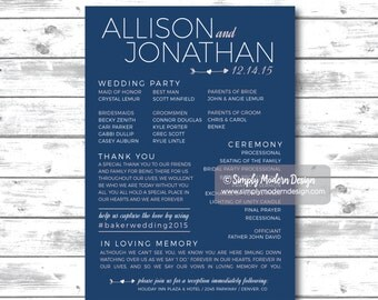 rustic wedding ceremony program, wedding programs, wedding invitation, country, rustic, wedding reception, PRINTABLE or PRINTED PROGRAMS