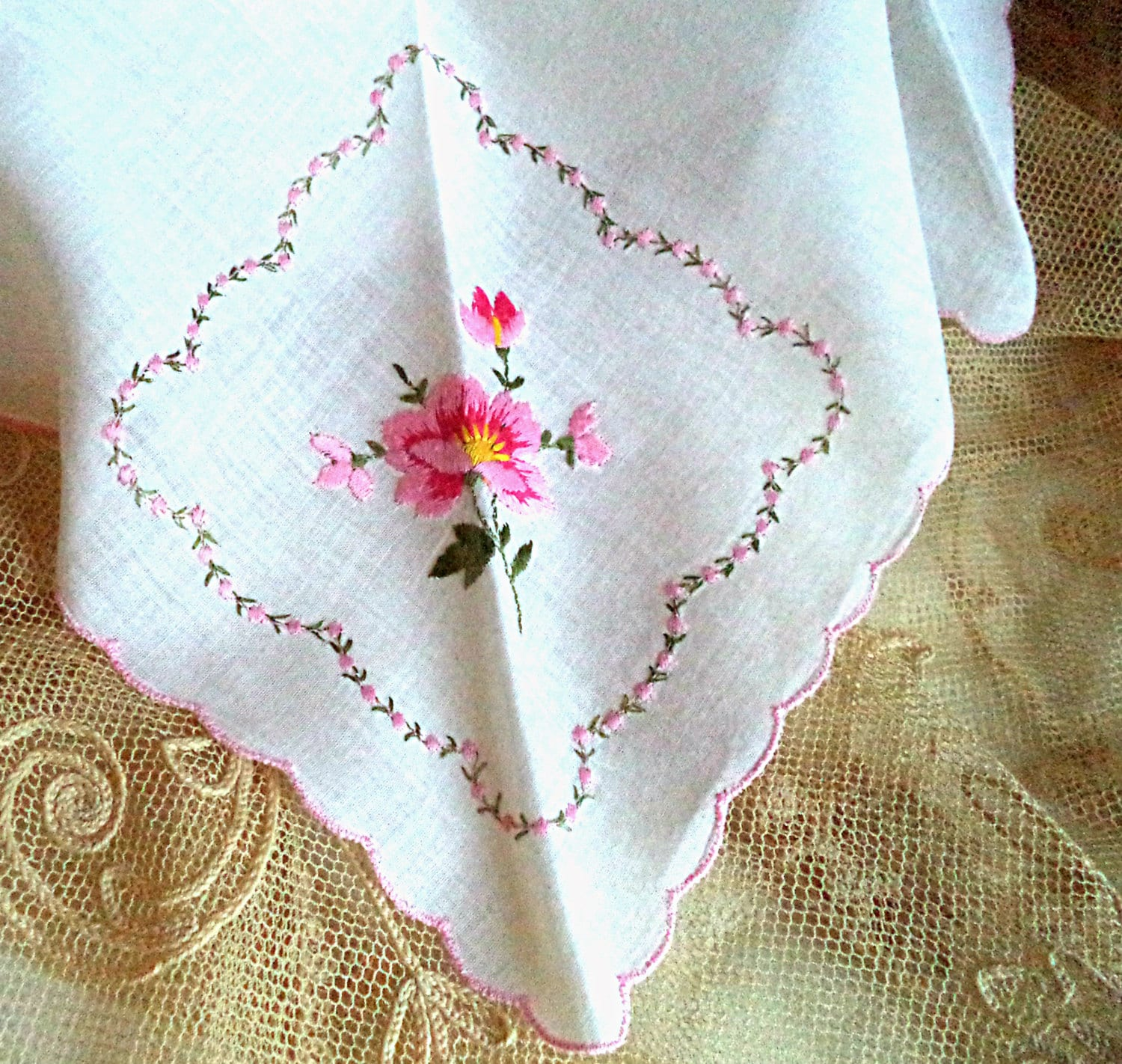 S white handkerchief pink rose floral embroidery