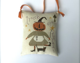 RESERVED for SHANNON Completed primitive cross stitch Tricks & Treats door hanger, Halloween gift, Hanging pincushion, Primitive Halloween