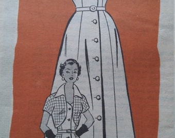 UNCUT and FF Pattern Pieces Vintage Mail Order Anne Adams 4713 Sewing Pattern Size 24-1/2 Bolero and  Sundress