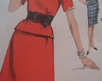 UNCUT and FF Pattern Pieces Vintage Advance  2996 Sewing Pattern  14 Two-Piece Dress Two Skirts