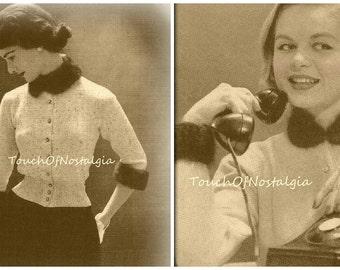 Knit ANGORA COLLAR Cuff Set-Cardigan Sweater Knitting Patterns ANGORA Collar/Cuff Set/Plus Bonus Cardigan Sweater Add Angora Collar Cuffs