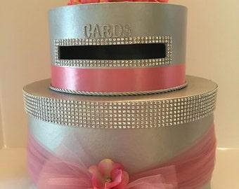 Pink  Light Rose  Wedding Card Box Silver Bling Diamond Ribbon