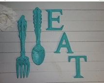 SUMMER SALE BAHAMA Blue-Eat Sign-Cast Iron Fork And Spoon Home Decor-Kitchen Wall Decor- Shabby Chic-Wall Art - Gift Ideas