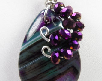 "Handmade Wire-Wrapped Purple and Green Druzy Geode Agate Pendant with .925 Sterling Silver Snake Chain - 18"" length"