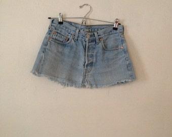 Vintage Levi Mini Light Blue Denim Skirt Mid Rise Minimal