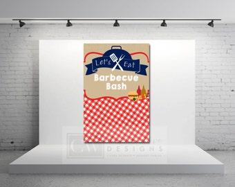 BBQ Picnic Backdrop Sign - Checkered Gingham Pattern - Backyard Cowboy Party