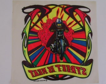 Vintage 1975 Colorful Motorcyle Iron On Transfer