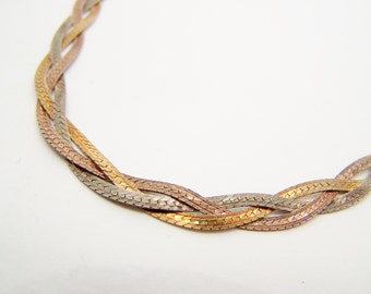 Tri color Sterling Silver Braided Necklace Flat Chain
