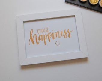 Happiness calligraphy quote, 5x7