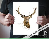Printable art Geometric Deer print Deer art Antler art Antler print Geometric print Triangle art Geometric deer print Home decor Wild Animal