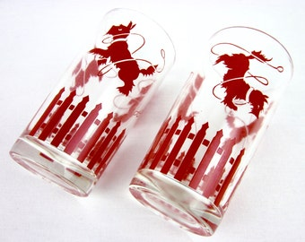 Vintage Pair of Vintage 50s Scotty Dog Tumblers, Glasses Red Decal