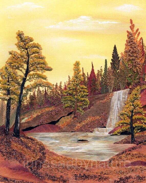 Landscape Art print Waterfall 8''x10'' Pressed Flower Art Mixed Media Oshibana Woodland Archival High Quality Print