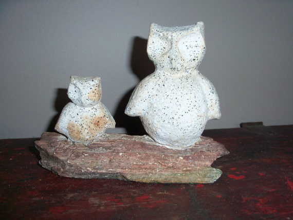 Vintage handmade heavy stone hand carved owl family on