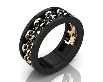 mens modern 14k black and yellow gold black diamond skull channel cluster wedding ring r913 - Mens Skull Wedding Rings