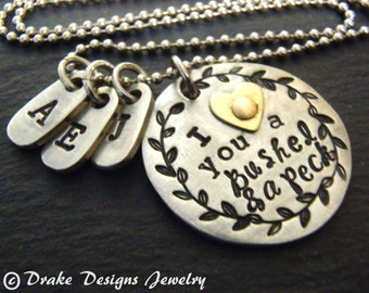 bushel and a peck necklace personalized grandma necklace grandmother gift mom jewelry