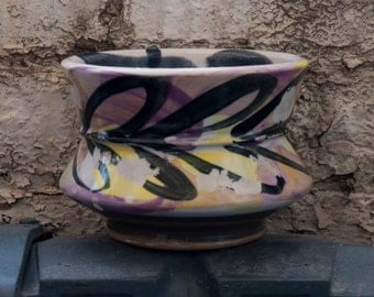Violet Yellow Graffiti Bowl