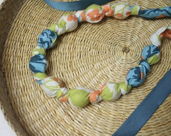 Fabric Necklace,Teething Necklace, Chomping Necklace, Nursing Necklace - Teal Garden Large