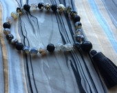 Black and White Crackle Agate and Lava Bead Hand Mala Prayer Beads with Leather Tassel