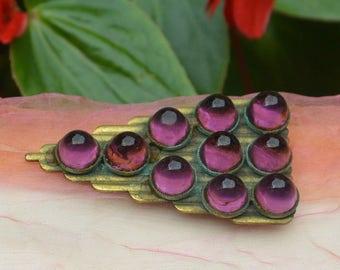 1920's Art Deco Dress/Fur Clip - Purple Glass Stones, Gold Tone - Vintage - Exquisite!