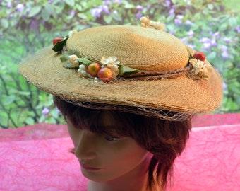 Schiaparelli Hat - Hand Woven Straw, Cherries, Fabric Flowers- Vintage - Beautiful!