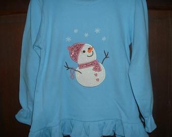 Light Long Sleeve Ruffle Shirt-Glittery Snowman--Size 4T