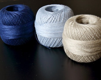 2ply  Lace weight Linen yarn  - shades of blue and natural grey