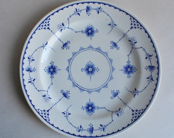 Vintage Ceramic Plate Made In England Blue Flowered Pattern