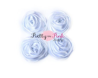 White Small Satin TWISTED Rosettes...You Choose Quantity...Rolled Rosettes..Rolled Rosettes...Rosettes
