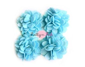 Light Blue FELT Carnation Flower Puff Felt Rose Flower-You Choose Quantity-Diy Headband Supplies-Flower-Wholesale-Supply Shop- DIY Headband