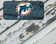 Miami Dolphins Blue Background Design on iPhone 4 / 4s / 5 / 5s / 5c / 6 / 6 Plus Rubber Silicone Case