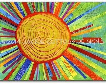 "Sun art, Giclee print 5 x 7"", Colorful sun decor, Whimsical collage, Acrylic painting print, Bright colored art, Playroom art, Nursery art"
