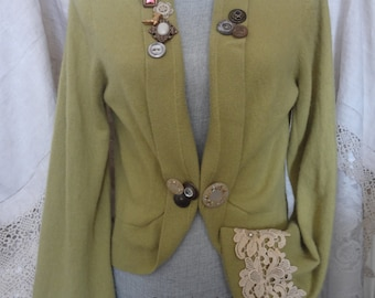 Women's Cashmere Sweater Upcycled Clothing Embellished Repurposed Decorated Cashmere Sweater - Atlantic Rock Threads