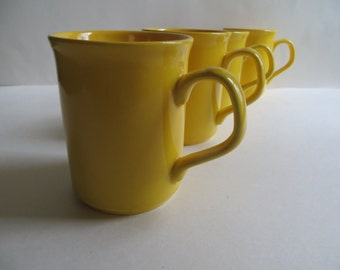 EIR England Ironstone Bright Yellow Mugs Set of 4