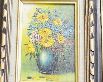 Vintage Oil Painting Vase of flowers