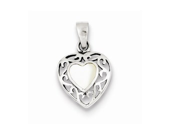 Sterling Silver Mother of Pearl Heart Antiqued Pendant