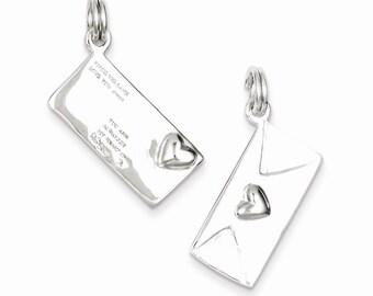 Sterling Silver Polished Letter Envelope Charm
