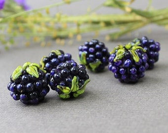 Lampwork Blackberry, Glass Lampwork Beads, Realistic Glass Fruit Bead, Glass Berries, Lampwork Blackberry, Glass Blackberry, Handmade Beds