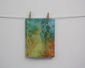 Note / Gift Card - Turtle Aquatic Underwater Art featuring my Watercolour Painting