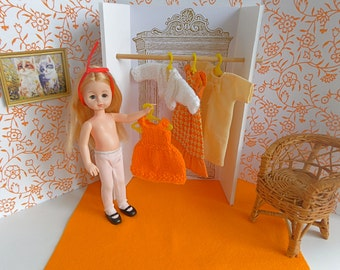 MID CENTURY 1:6 scale, Ginny doll dressing room and vintage wardrobe