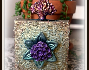 One of a Kind, Mixed Media, Handmade Canvas Block-Flaming Flower