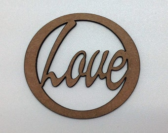 "Chipboard Word ""Love"" Circle"