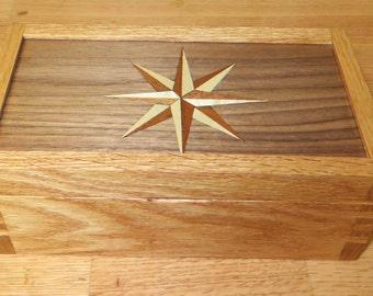 Compass Rose Marquetry Box, Inlay Box, Valet Box, Jewelry Box, Keepsake Box,