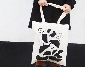 Falling Shapes - Tote Bag, Shopping Bag,  Cotton Tote - hand screen printed - 100% Certified Organic Cotton - by Mileseed