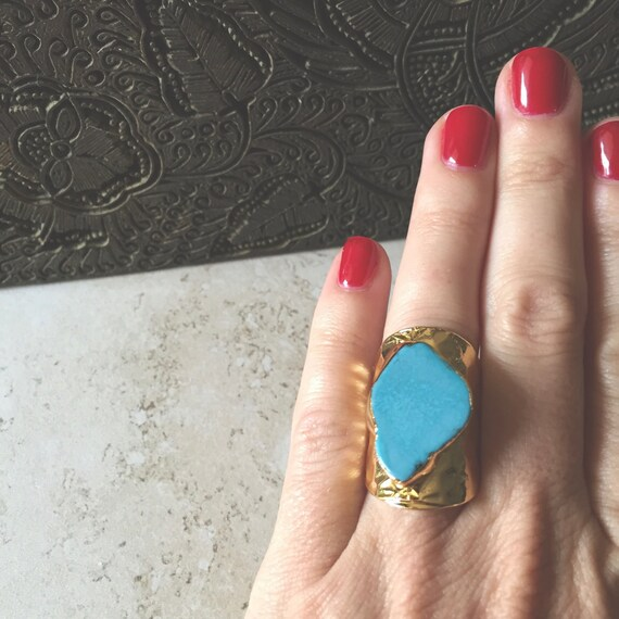 blue turquoise statement ring